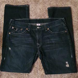 True Religion Straight Blue Flap Jeans sz 40